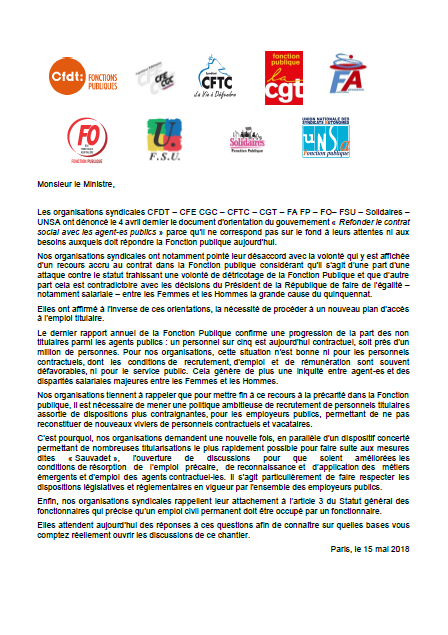 15 mai 2018 déclaration unitaire ANT