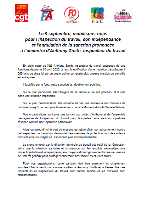 2020.09.03 Intersyndicale FP 9 septembre A. SMITH Inspection du travail
