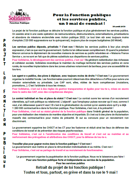 Appel Solidaires FP 9 mai 2019