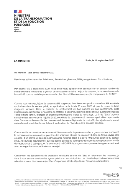 Courrier commun CGG UIAFP FO UNSA FSU Solidaires FP FA FP CFE CGC CFTC