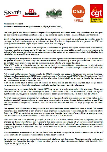 Déclaration liminaire intersyndicale CAP TSEI du 15 mai 2018