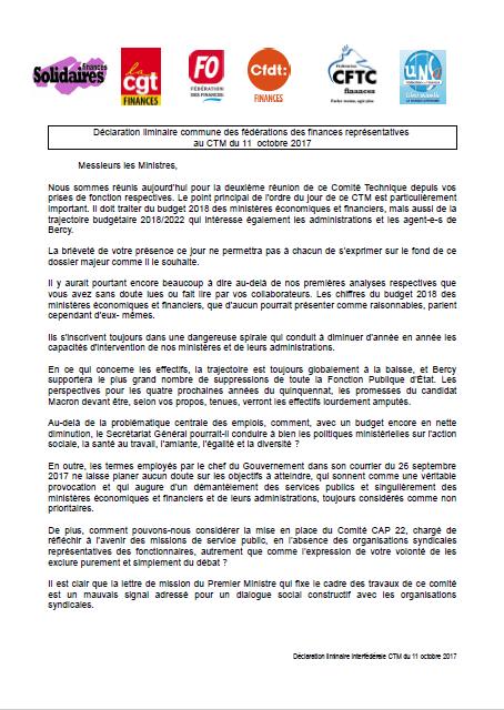 PM une déclaration liminaire commune CTM 10oct2017