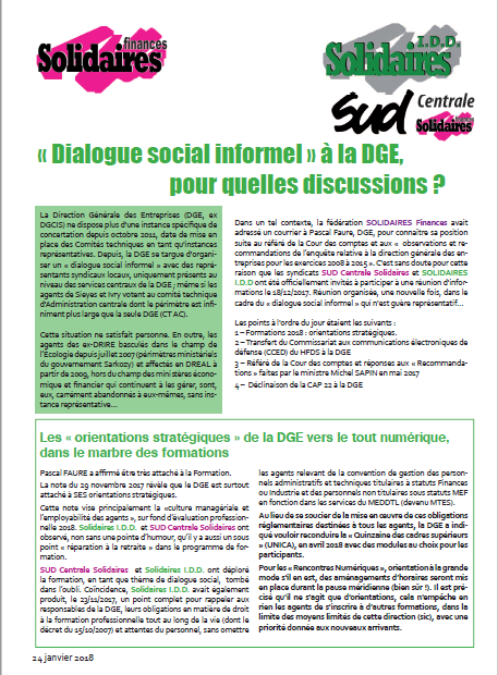 PM une dialogue social à la DGE