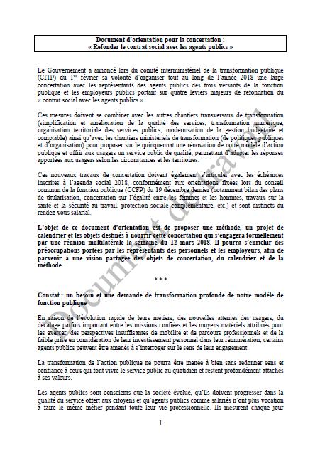 PM une document dorientation pour la concertation