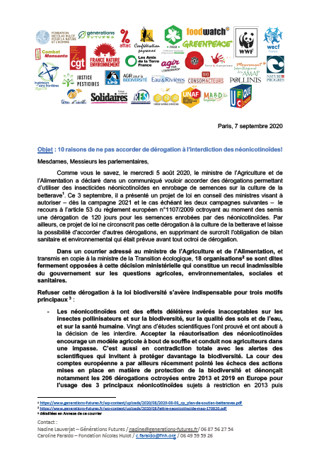 lettre neonicotinoide parlementaire vf